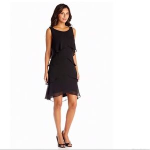 SLNY Black Tiered A-Line Party Cocktail Dress
